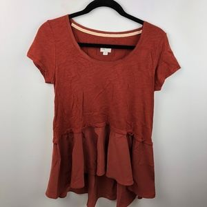 Postmark Hi Low Mixed Fabric Top